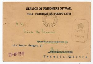 INDIA: WW2 CENSORED POW POSTCARD TO ITALY.