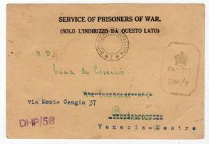 INDIA: WW2 CENSORED POW POSTCARD TO ITALY.