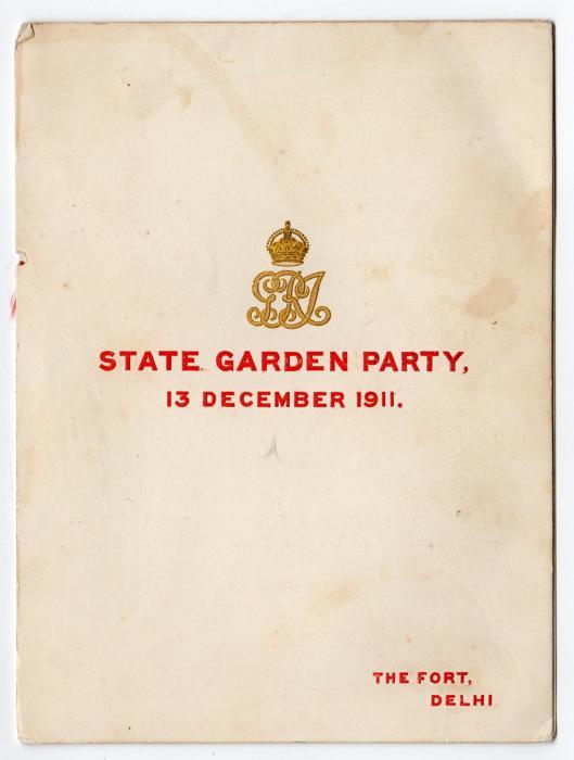 INDIA: 1911 STATE GARDEN PARTY PROGRAMME.
