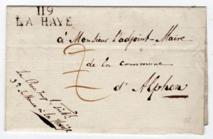 NETHERLANDS: 1812 OFFICIAL ENTIRE LETTER WITH 119/LA HAYE POSTMARK.