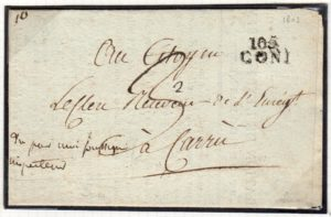 ITALY: 1802 PRINTED OFFICIAL ENTIRE LETTER WITH 105/CONI POSTMARK.