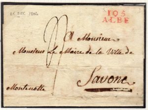 ITALY: 1806 OFFICIAL WRAPPER WITH 105/ALBE POSTMARK.