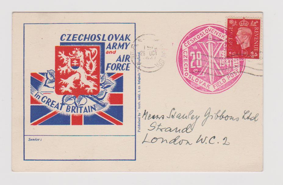 CZECHOSLOVAK ARMY & AIR FORCE CARD USED WARWICK & LEAMINGTON SPA 1941