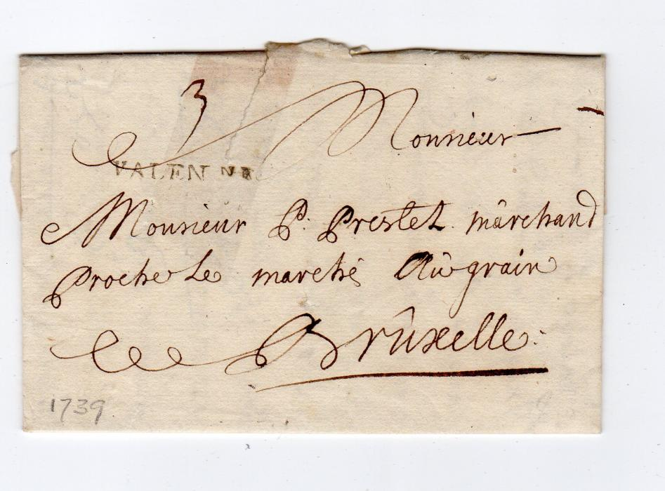 FRANCE: 1739 PRE-STAMP ENTIRE TO BRUSSELS