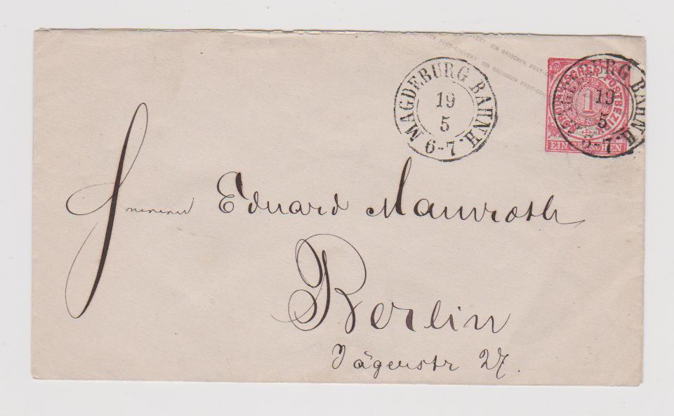 NORTH GERMAN CONFEDERATION POSTAL STATIONERY ENVELOPE