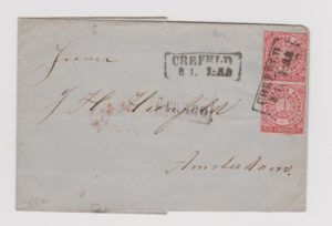 NORTH GERMAN CONFEDERATION COVER WITH 2 X 1 GROSCHEN