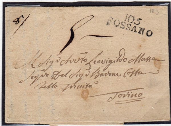 FRENCH OCCUPATION OF ITALY 1813 ENTIRE LETTER WITH 105/FOSSANO MARK.