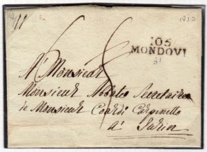 FRENCH OCCUPATION OF ITALY 1810 ENTIRE LETTER WITH 105/MONDOVI MARK.
