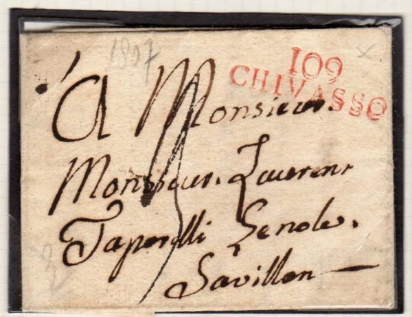 FRENCH OCCUPATION OF ITALY 1807 ENTIRE LETTER WITH 109/CHIVASSO MARK.