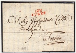 FRENCH OCCUPATION OF ITALY 1807 ENTIRE LETTER WITH 109/IVREE MARK.