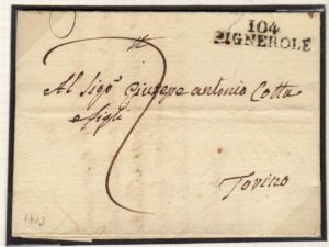 FRENCH OCCUPATION OF ITALY 1803 ENTIRE LETTER WITH 104/PIGNEROLE MARK.