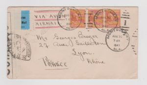 UNITED STATES AIR MAIL LETTER TO FRANCE 1941