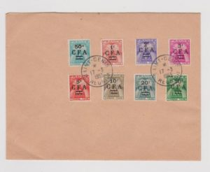 REUNION C.F.A. POSTAGE DUE ISSUES ON SOUVENIR ENVELOPE