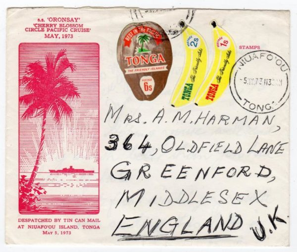 TONGA: 1973 SS ORONSAY PACIFIC CRUISE COVER TO ENGLAND.