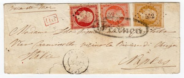 """FRANCE: 1857 COVER TO NAPLES WITH """"552"""" SMALL NUMERAL POSTMARK."""