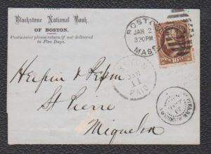 US BANK DRAFT FROM BOSTON TO ST PIERRE & MIQUELON 1883.