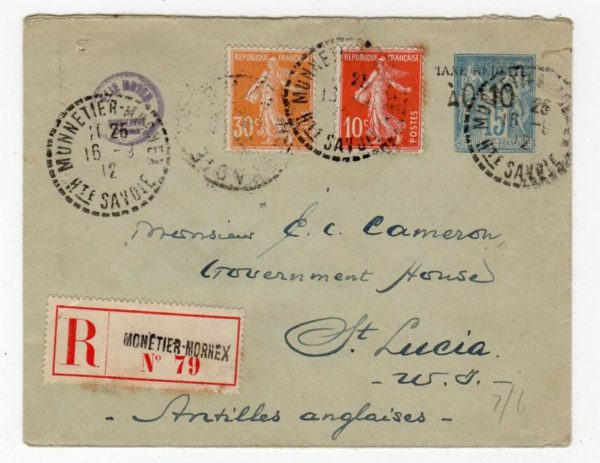 SAVOIE: 1912 REGISTERED UPRATED POSTAL STATIONERY TO ST.LUCIA WITH RED CROSS LABEL.