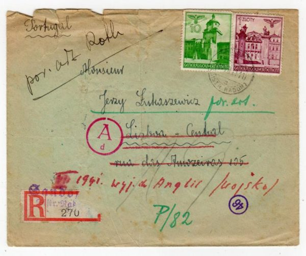 POLAND GENERAL GOVERNMENT: 1941 REGISTERED CENSORED COVER TO PORTUGAL.