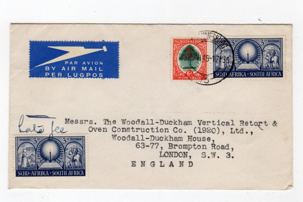 SOUTH AFRICA: 1949 AIRMAIL COVER TO LONDON WITH LATE FEE.