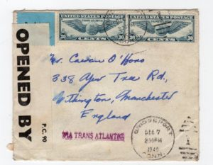 USA: 1940 CENSORED AIRMAIL COVER TO ENGLAND