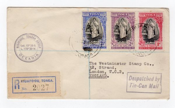 TONGA: 1938? REGISTERED COVER TO ENGLAND BY TIN CAN MAIL.