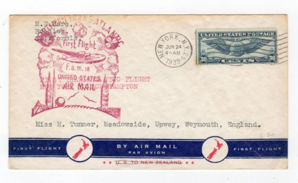 USA: 1939 AIRMAIL COVER TO ENGLAND VIA FIRST FLIGHT.