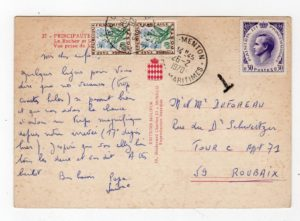 MONACO: 1970 PICTURE POSTCARD WITH FRENCH POSTAGE DUE STAMPS.