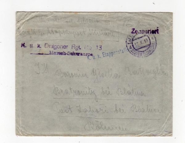 AUSTRIAN FORCES IN ALBANIA: 1918? CENSORED COVER TO BOHEMIA WITH MILITARY CACHETS