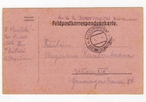 AUSTRIAN FORCES IN ALBANIA: 1917? POSTAL STATIONERY TO WIEN WITH MILITARY HOSPITAL CACHET.