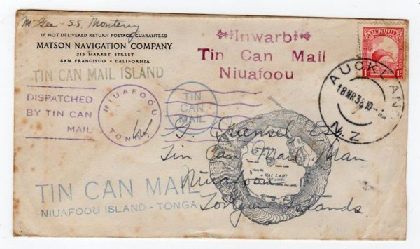 NEW ZEALAND: 1938 TIN CAN MAIL COVER TO TONGA