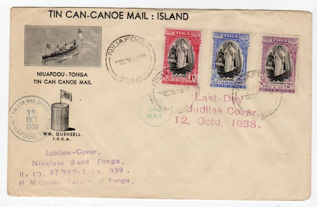 TONGA: 1938 LAST DAY JUBILEE COVER