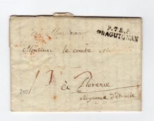 FRANCE: 1804 PRE-STAMP ENTIRE TO FLORENCE.