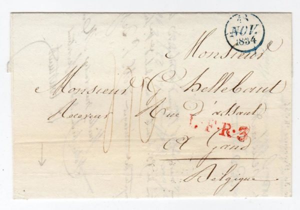 FRANCE: 1834 PRE-STAMP ENTIRE TO BELGIUM.