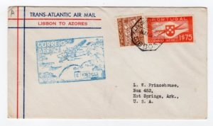 PORTUGAL: 1939 TRANSATLANTIC AIR MAIL COVER TO USA USING FIRST FLIGHT TO AZORES.