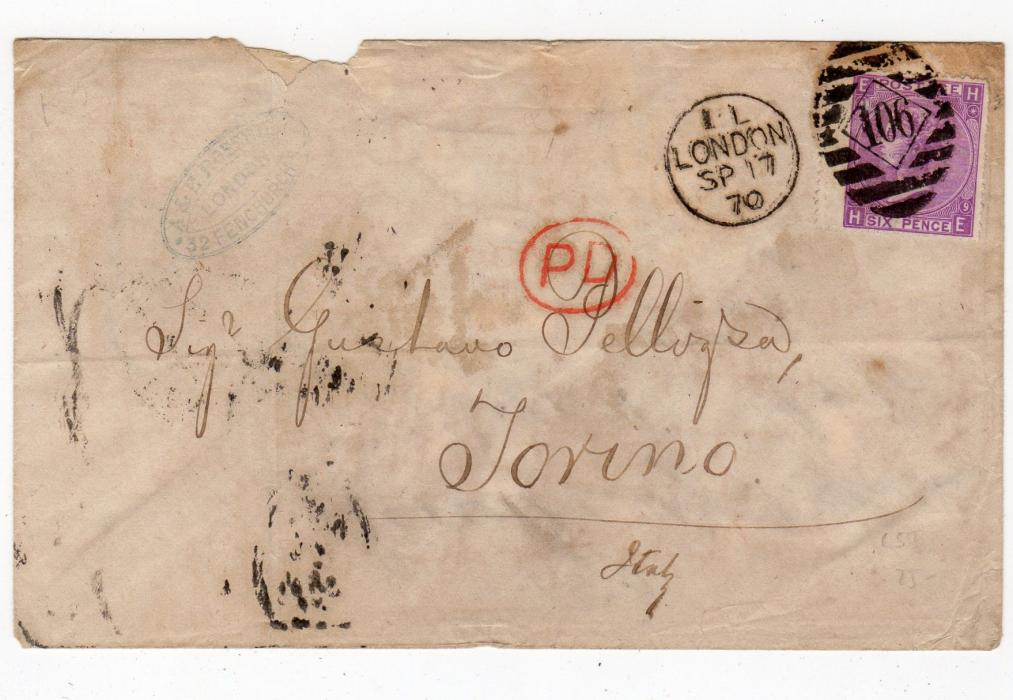 GB-LONDON: 1870 COVER TO ITALY.