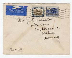 SOUTH AFRICA: 1937 AIRMAIL COVER TO DENMARK.