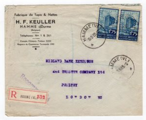 BELGIUM: 1935 REGISTERED COMMERCIAL COVER TO LONDON.