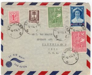 BELGIUM: 1954 AIRMAIL COVER TO USA WITH RED CROSS STAMP.