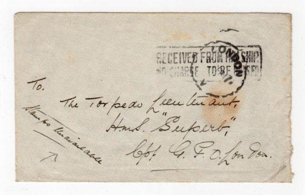 GB: 1917 CENSORED NAVAL COVER TO HMS SUPERB