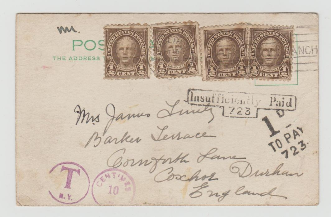 USA TO GB WITH POSTAGE DUE MARKINGS OF BOTH COUNTRIES