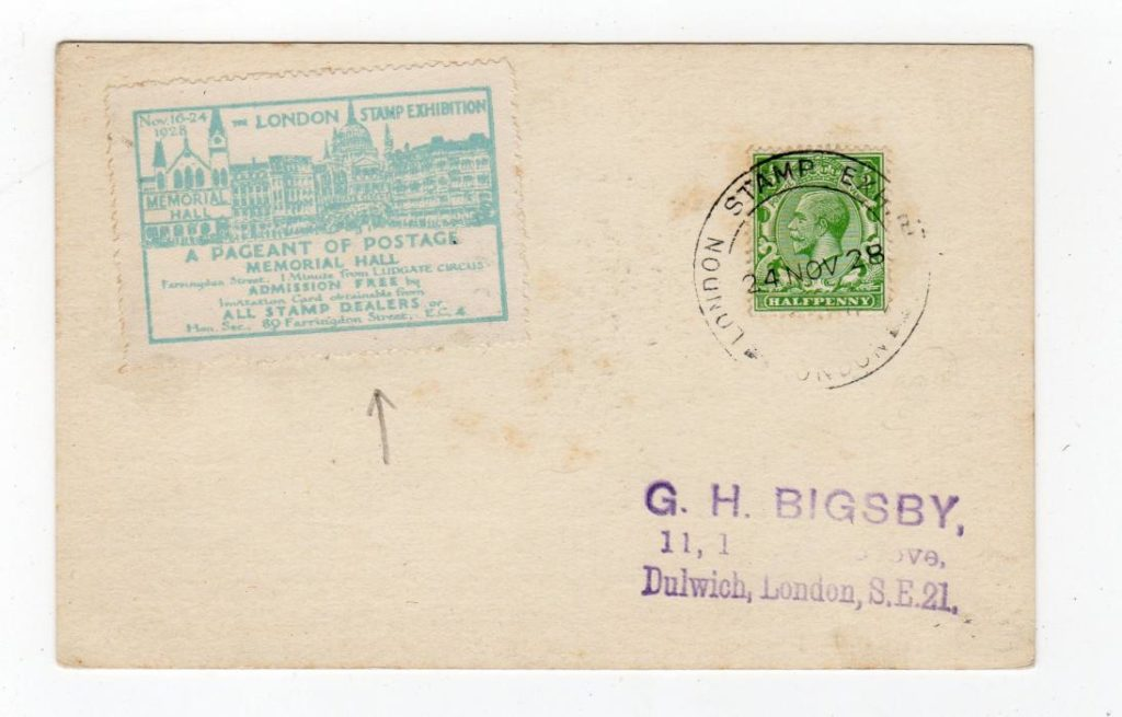 GB: 1928 LONDON STAMP EXHIBITION POSTCARD WITH POSTER STAMP