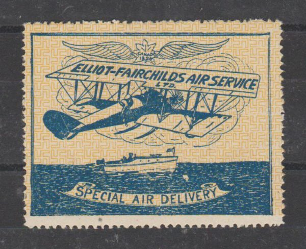 CANADA ELLIOT-FAIRCHILDS AIR SERVICE SPECIAL DELIVERY LABEL 1936
