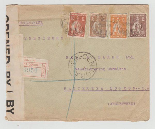 PORTUGAL 4-COLOUR FRANKING LISBON TO LONDON 1918