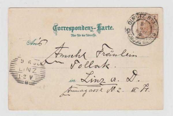 AUSTRIAN POSTCARD USED IN OLMUTZ (LATER CZECHOSLOVAKIA) 1898