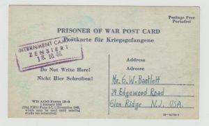 POW CARD USED IN AN INTERNMENT CAMP