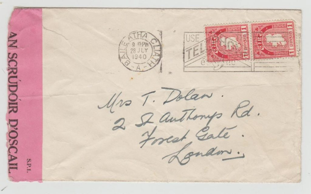IRELAND WW2 ENVELOPE TO LONDON WITH IRISH CENSOR 1940