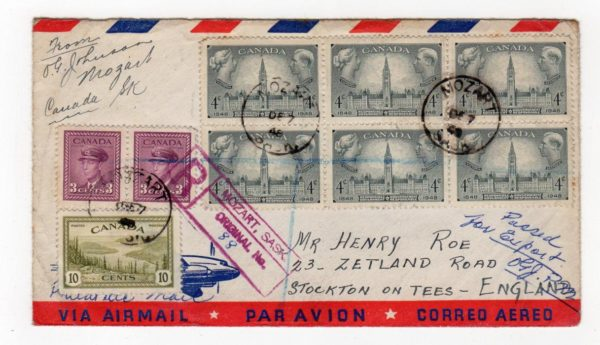 CANADA: 1948 REGISTERED AIRMAIL WITH CHRISTMAS LABELS.