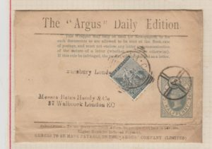 """CAPE OF GOOD HOPE HALF PENNY NEWSPAPER WRAPPER FOR THE """"ARGUS"""" DAILY EDITION"""