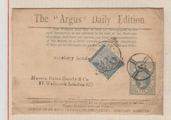 "CAPE OF GOOD HOPE HALF PENNY NEWSPAPER WRAPPER FOR THE ""ARGUS"" DAILY EDITION"