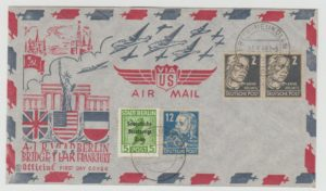 GERMANY BERLIN AIRLIFT 1949 ONE YEAR COMMEMORATION WITH USE OF ZONAL ISSUES